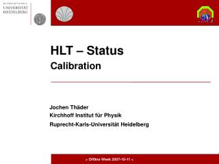 HLT – Status Calibration