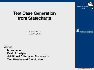 Test Case Generation from Statecharts