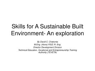 Skills for A Sustainable Built Environment- An exploration