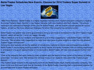 BetterTrades Schedules New Events, Classes for 2014 Traders