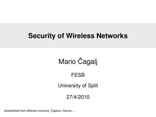 Security of Wireless Networks