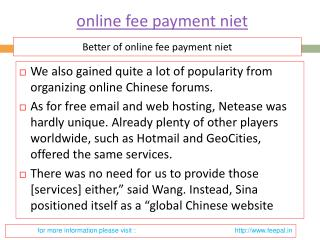 Useful information about online fee payment niet