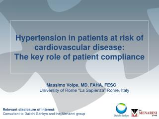 Hypertension in patients at risk of cardiovascular disease:   The key role of patient compliance