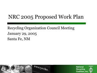 NRC 2005 Proposed Work Plan
