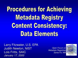 Procedures for Achieving Metadata Registry Content Consistency: Data Elements