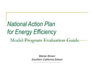 National Action Plan  for Energy Efficiency Model Program Evaluation Guide