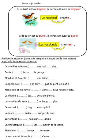 Accord sujet - verbe