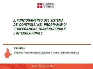Silvia Rizzi Direzione Programmazione Strategica, Politiche Territoriali ed Edilizia