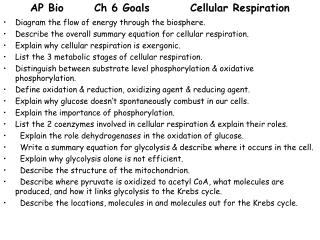AP Bio 	Ch 6 Goals		Cellular Respiration