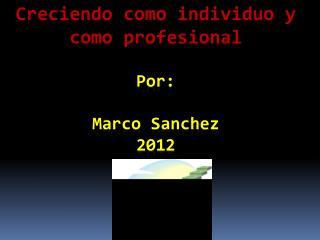 Creciendo como individuo  y  como profesional Por : Marco Sanchez 2012