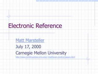Electronic Reference