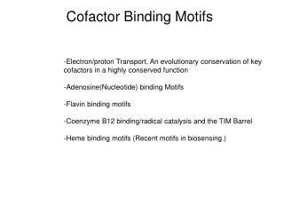 Cofactor Binding Motifs