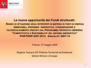 Le nuove opportunità dei Fondi strutturali: