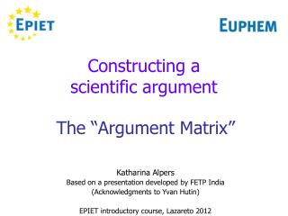 Constructing a  scientific argument
