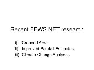 Recent FEWS NET research