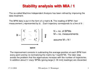 Stability analysis with MIA / 1