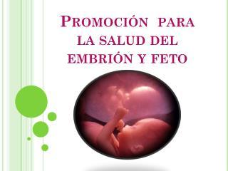Promoción  para la salud del embrión y feto