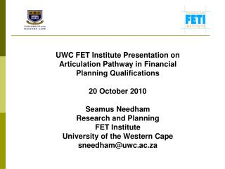 UWC FET Institute Presentation on Articulation Pathway in Financial Planning Qualifications