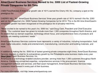 AmeriQuest Business Services Named to Inc. 5000 List