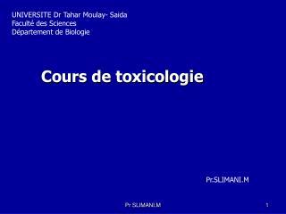 Cours de toxicologie