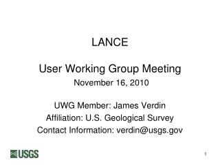 LANCE User Working Group Meeting November 16, 2010