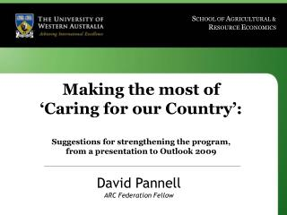 David Pannell ARC Federation Fellow