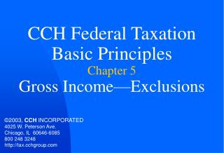 CCH Federal Taxation Basic Principles Chapter 5 Gross Income Exclusions