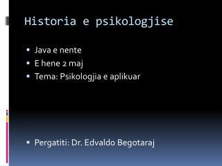Historia e psikologjise