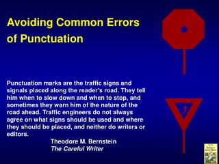 Avoiding Common Errors of Punctuation