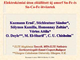 Elektrok émiai úton előállított új amorf Sn-Fe és Sn-Co-Fe ötvözetek