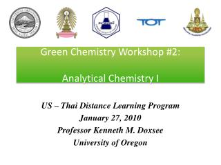 Green Chemistry Workshop #2: Analytical Chemistry I