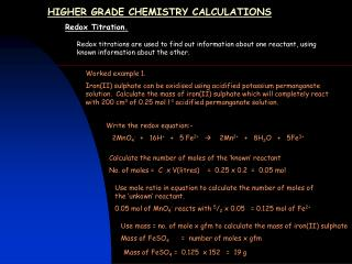 HIGHER GRADE CHEMISTRY CALCULATIONS