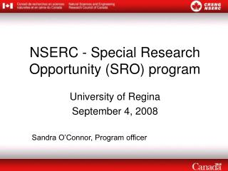 NSERC - Special Research Opportunity (SRO) program