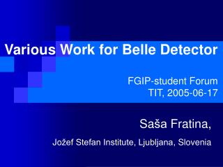 Various Work for Belle Detector FGIP-student Forum TIT, 2005-06-17