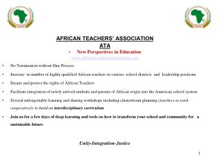AFRICAN TEACHERS' ASSOCIATION ATA New Perspectives in Education africanteachersassociation