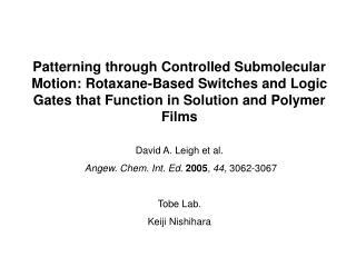 David A. Leigh et al. Angew. Chem. Int. Ed. 2005 ,  44 , 3062-3067