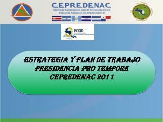 ESTRATEGIA Y PLAN DE TRABAjo  Presidencia Pro  tempore  CEPREDENAC  2011