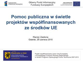 Pomoc publiczna w świetle projektów współfinansowanych ze środków UE