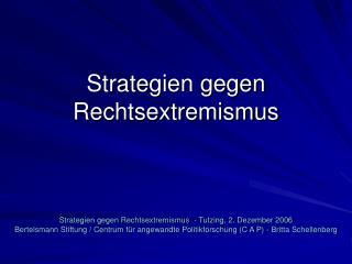 Strategien gegen Rechtsextremismus