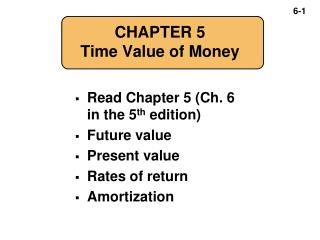 CHAPTER 5 Time Value of Money