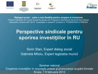 Perspective sindicale pentru  sporirea investiţiilor în  RU Sorin Stan , Expert dialog social