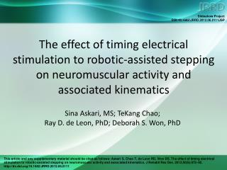 Sina Askari, MS; TeKang Chao;  Ray D. de Leon, PhD; Deborah S. Won, PhD