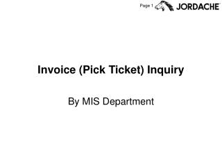 Invoice (Pick Ticket) Inquiry
