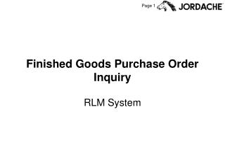 Finished Goods Purchase Order Inquiry