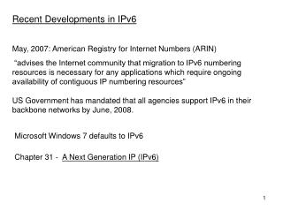 May, 2007: American Registry for Internet Numbers (ARIN)