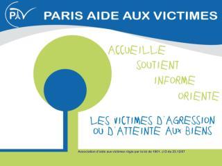 Association d'aide aux victimes régie par la loi de 1901. J.O du 23.12/87