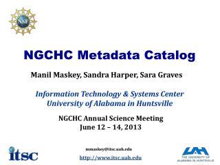 NGCHC  Metadata  C atalog