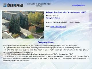 KALUGAPRIBOR OPEN JOINT-STOCK COMPANY