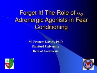 Forget It! The Role of  a 2  Adrenergic Agonists in Fear Conditioning