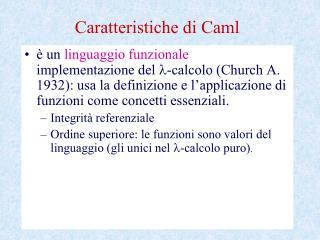 Caratteristiche di Caml